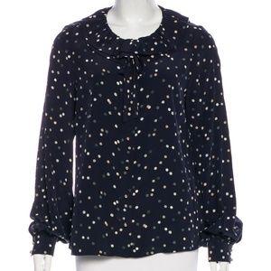 Kate Spade 100% silk poke a dot blouse